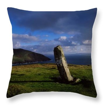 Ogham Stone At Dunmore Head, Dingle Throw Pillow by The Irish Image Collection
