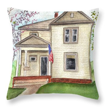 Throw Pillow featuring the painting Ohio Cottage With Flag by Clara Sue Beym