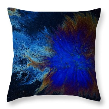Oil On Pavement Cradle Of The World Throw Pillow