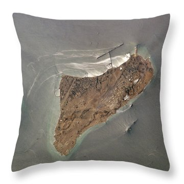 Oil Port, Iran Throw Pillow by NASA / Science Source