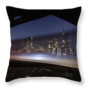 Oil Refinery And Train Blur Throw Pillow by Mike Raabe