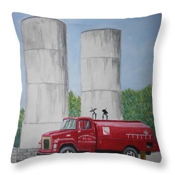 Oil Truck Throw Pillow by Stacy C Bottoms