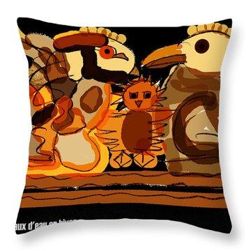 Oiseaux D'eau En Hiver Throw Pillow
