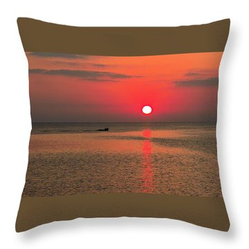 Okinawa Sunset Throw Pillow by Jocelyn Kahawai