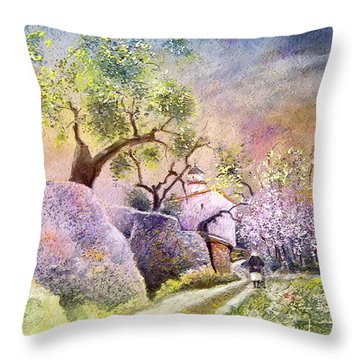 Old And Lonely In Spain 06 Throw Pillow by Miki De Goodaboom