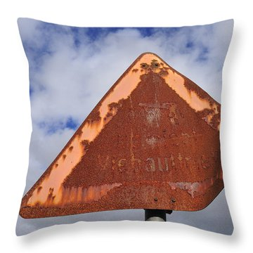 Old And Rusty Traffic Sign Throw Pillow by Matthias Hauser
