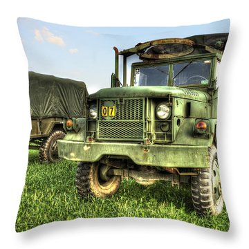 Old Army Truck In Field Throw Pillow by Dan Friend