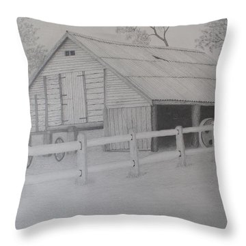 Old Austane Barn Throw Pillow by Brian Leverton