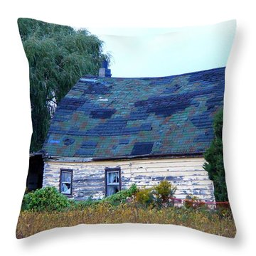 Throw Pillow featuring the photograph Old Barn by Davandra Cribbie