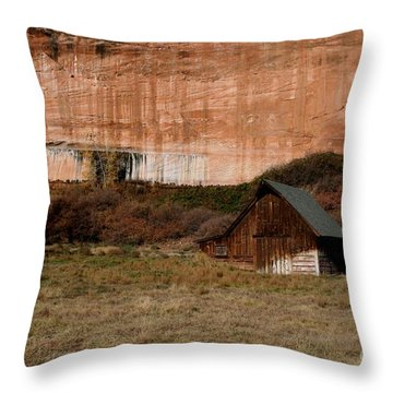 Old Barn In Angel Canyon #1  Throw Pillow by Nola Lee Kelsey