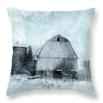 Old Barn In Winter Snow Throw Pillow by Jill Battaglia