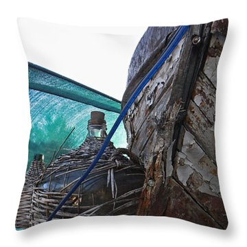 Old Boat And Flagons Throw Pillow