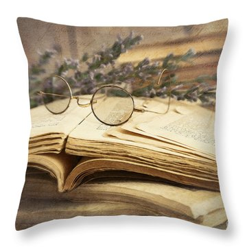 Old Books Open On Wooden Table  Throw Pillow