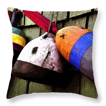 Old Bouys Throw Pillow by David Lee Thompson