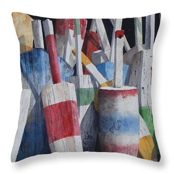 Old Buoy Hangout  Sold Printa Available Throw Pillow