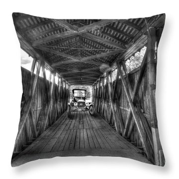Old Car On Covered Bridge Throw Pillow by Dan Friend
