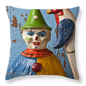 Old Clown And Roster Throw Pillow by Garry Gay