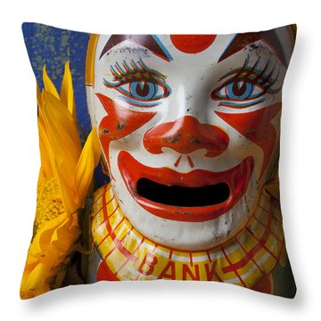 Old Clown Bank Throw Pillow by Garry Gay