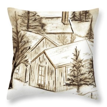 Throw Pillow featuring the drawing Old Colorado by Shannon Harrington