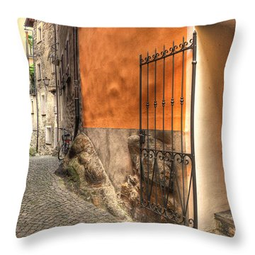 Old Colorful Rustic Alley Throw Pillow