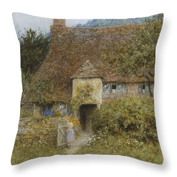 Old Cottage Witley Throw Pillow by Helen Allingham