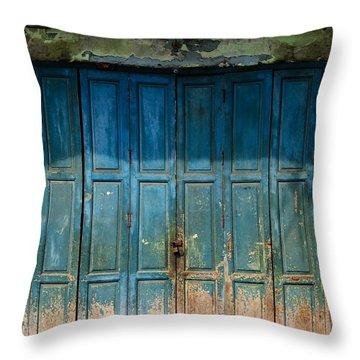 old door in China town Throw Pillow by Setsiri Silapasuwanchai