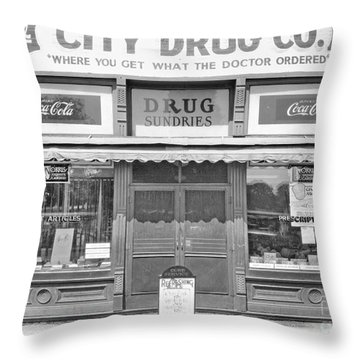 Old Drug Store Circa 1930 Throw Pillow