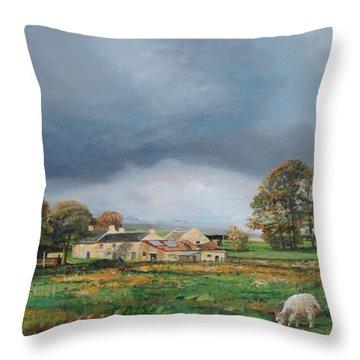 Old Farm - Monyash - Derbyshire Throw Pillow by Trevor Neal