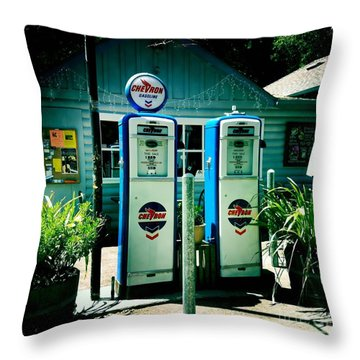 Old Fashioned Gas Station Throw Pillow by Nina Prommer