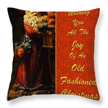 Old Fashioned Santa Christmas Card Throw Pillow by Lois Bryan