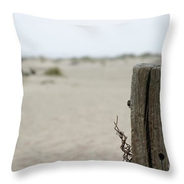 Old Fence Pole Throw Pillow by Henrik Lehnerer