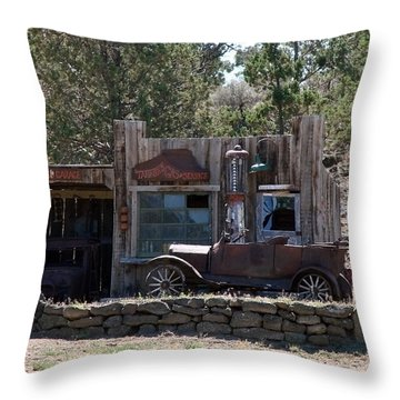 Throw Pillow featuring the photograph Old Filling Station by Athena Mckinzie
