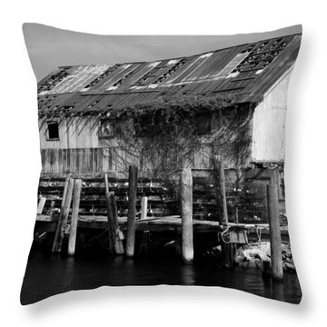 Old Fishing Wharf Throw Pillow