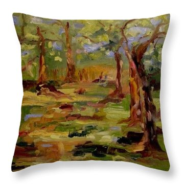 Throw Pillow featuring the painting Old Fort Park by Carol Berning