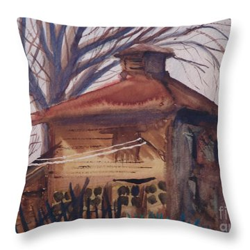 Old Garage Throw Pillow