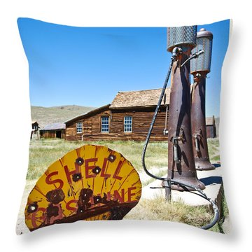Old Gas Pumps Throw Pillow