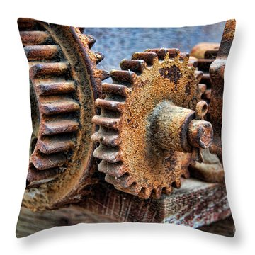 Old Gears Throw Pillow