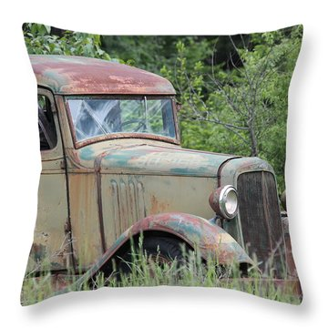 Throw Pillow featuring the photograph Abandoned Truck In Field by Athena Mckinzie