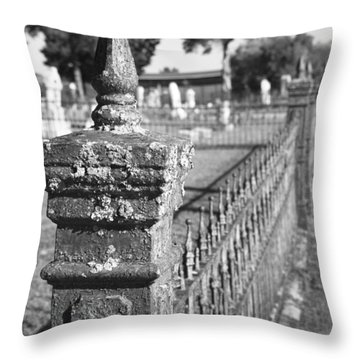 Old Graveyard Fence In Black And White Throw Pillow by Kathy Clark
