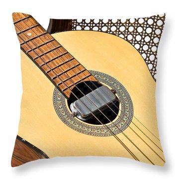 Throw Pillow featuring the photograph Old Guitar In A Chair by Susan Leggett