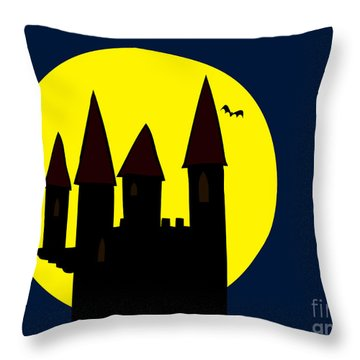 Old Haunted Castle In Full Moon Throw Pillow by Michal Boubin
