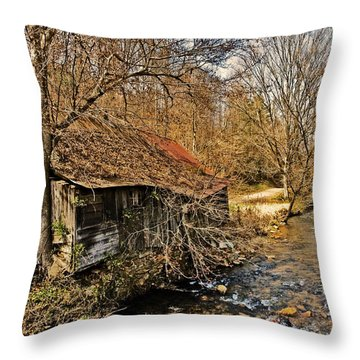 Old Home On A River Throw Pillow