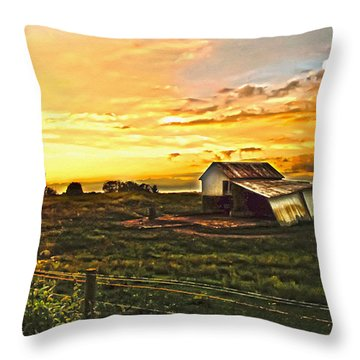 Old Horse Shed At Sundown Throw Pillow by Randall Branham
