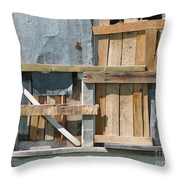 Old House In Ruins Wth Window Boarded - Grunge Throw Pillow
