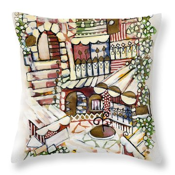 Old Jerusalem Courtyard Modern Artwork In Red White Green And Blue With Rooftops Fences Flowers Throw Pillow by Rachel Hershkovitz
