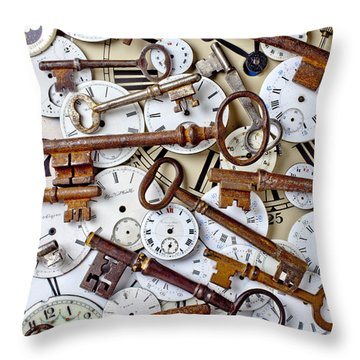 Old Keys And Watch Dails Throw Pillow by Garry Gay