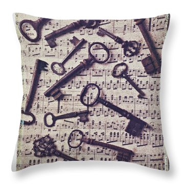 Old Keys On Sheet Music Throw Pillow by Garry Gay