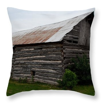 Throw Pillow featuring the photograph Old Log Building by Barbara McMahon