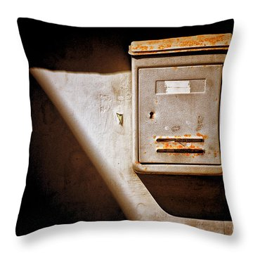 Old Mailbox With Doorbell Throw Pillow by Silvia Ganora