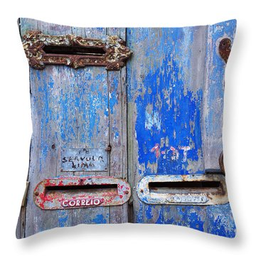 Old Mailboxes Throw Pillow by Carlos Caetano